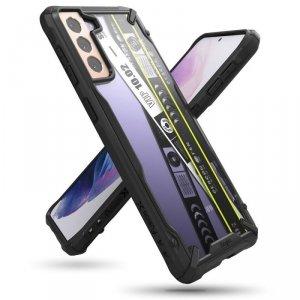 Ringke Fusion X Design etui pancerny pokrowiec z ramką Samsung Galaxy S21+ 5G (S21 Plus 5G) czarny (Ticket band) (XDSG0052)