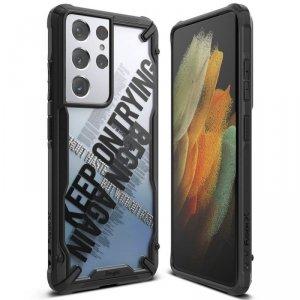 Ringke Fusion X Design etui pancerny pokrowiec z ramką Samsung Galaxy S21 Ultra 5G czarny (Cross) (XDSG0056)