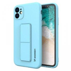 Kickstand Case elastyczne silikonowe etui z podstawką iPhone SE 2020 / iPhone 8 / iPhone 7 jasnoniebieski