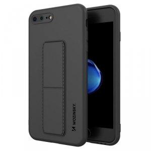 Kickstand Case elastyczne silikonowe etui z podstawką iPhone 8 Plus / iPhone 7 Plus czarny