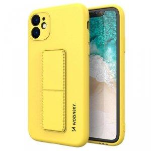 Kickstand Case elastyczne silikonowe etui z podstawką iPhone 11 Pro Max żółty