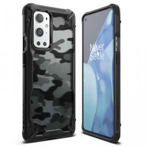 Ringke Fusion X Design etui pancerny pokrowiec z ramką OnePlus 9 Pro czarny Camo Black (XDOP0009)