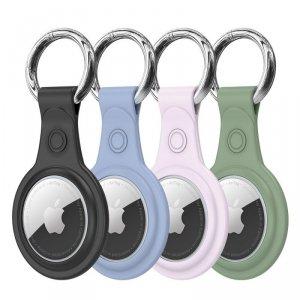 Dux Ducis zestaw 4x silikonowe etui brelok zawieszka case do lokalizatora Apple AirTag (4 kolory: czarny, zielony, różowy, niebi