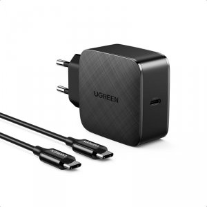 Ugreen GaN (azotek galu) szybka ładowarka sieciowa USB Typ C 65W Quick Charge Power Delivery + kabel USB Typ C 2m czarny (40156