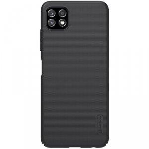 Nillkin Super Frosted Shield wzmocnione etui pokrowiec + podstawka Samsung Galaxy A22 5G czarny