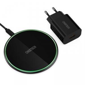 Choetech bezprzewodowa ładowarka Qi 15W do telefonu słuchawek + kabel USB Typ C + adapter QuickCharge 18W czarny (T559-F)