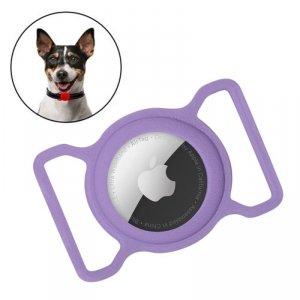Zestaw obroża i etui do Apple AirTag dla psa kota zawieszka case do lokalizatora Apple AirTag fioletowy