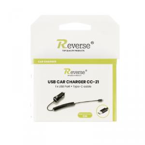 Ładowarka samochodowa Reverse CC-21 2,1A TYP C+USB czarna