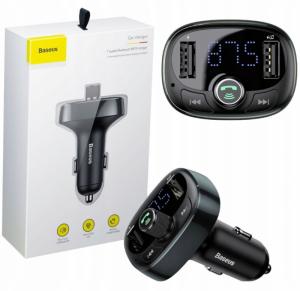 Transmiter FM  Baseus typed Bluetooth MP3 Pendrive +Ładowarka 2xUSB 3.4A Micro SD czarny CCALL-TM01