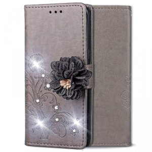Etui wallet leather IPHONE XS / X 5.8 kwiat 3D szare