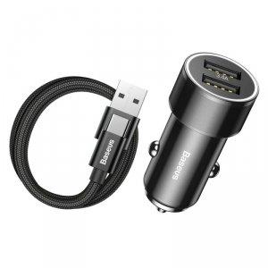 Ładowarka samochodowa 2xUSB +kabel TYP C Baseus Small Screw 3.4A Dual-USB Type-C  Car Charging Set czarna TZXLD-B01