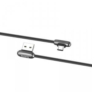 Kabel kątowy Micro USB 2.4A 1.2M SZYBKIE ŁADOWANIE QUICK CHARGE Przewód 90 stopni dla graczy HOCO U60 szary