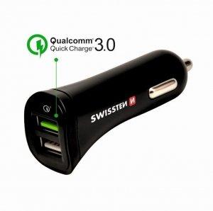 Ładowarka samochodowa Swissten 2xUSB Quick Charge 3.0 2.4A 18W + Kabel Micro USB 1.5m czarna