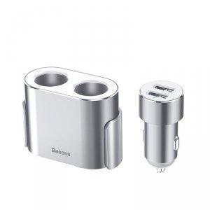 Ładowarka samochodowa 2x USB 3.1A 17W + 2x gniazdo zapalniczki 80W Baseus High Efficiency (CRDYQ-0S) srebrna