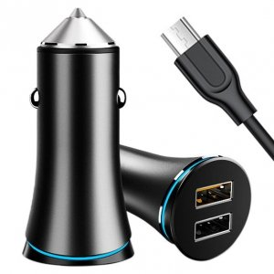 Ładowarka samochodowa QC 3.0 3A i 2.4A 2x USB + Kabel Micro USB JOYROOM Smart Quick Charge Dual USB (JR-C08) czarny