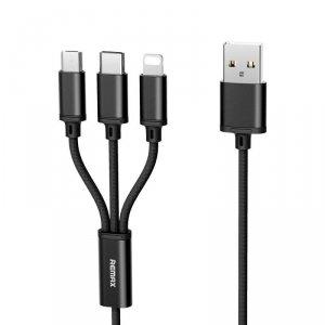 Kabel 3w1 2.8A 1.2m USB Typ C + Micro USB + iPhone Lightning Remax Gition RC-131TH czarny