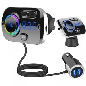 Transmiter FM (Bluetooth 5.0 + EDR + microSD + USB) z funkcją ładowania 2x USB 2.4A QC 3.0 Quick Charge BC49AQ czarny
