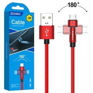 Kabel Obrotowy 180° Kątowy 3A 1m Micro USB Ładowanie i Przesył Danych KAKU Rotatable Charging Data Cable MicroUSB (KSC-465) czer