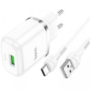 Ładowarka Sieciowa USB 18W QC3.0 3A + Kabel USB-C 1m HOCO N3 Quick Charge USB Typ C biała