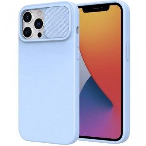 Etui IPHONE 11 Silikonowe z Osłoną na Aparat Nexeri Silicone Lens jasny niebieski