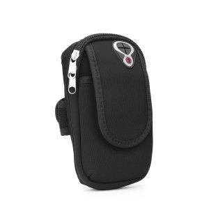 Etui Armband Full Close na ramię czarny z kieszenią i otworem na słuchawki