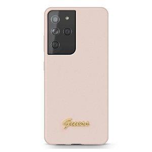 Etui GUESS GUHCS21LLSLMGLP S21 Ultra G998 różowy/pink hardcase Silicone Script Metal Logo