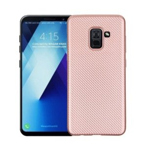 Etui Carbon Fiber Samsung A8 A530 2018 rózowo-złoty /rosegold