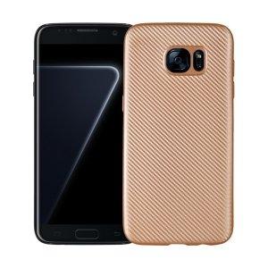 Etui Carbon Fiber Samsung S7 Edge G935 złoty/gold