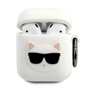 Karl Lagerfeld KLACA2SILCHWH AirPods cover biały/white Silicone Choupette