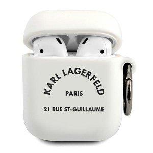 Karl Lagerfeld KLACA2SILRSGWH AirPods cover biały/white Silicone RSG