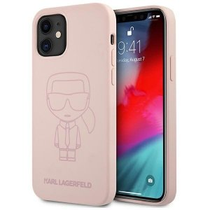 Karl Lagerfeld KLHCP12SSILTTPI iPhone 12 mini 5,4 Silicone Ikonik Outline różowy/pink