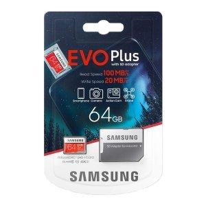 Karta pamięci Samsung EVO Plus 64GB microSD + adapter 10 class MB-MC64HA/EU