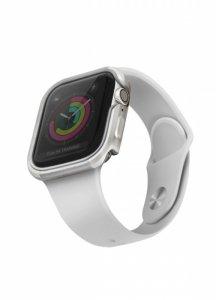 UNIQ etui Valencia Apple Watch Series 4/5/6/SE 44mm. srebrny/titanium silver