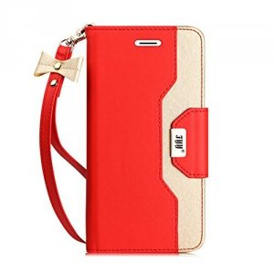 FYY Etui book case ze smyczką i lusterkiem - iPhone 6/6S (4.7) (czerwony)