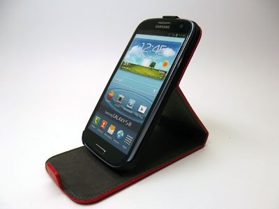 SLIGO LEATHER STAND ETUI FUTERAŁ SAMSUNG GALAXY S3 i9300 (czerwone)
