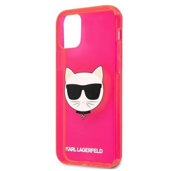 "Karl Lagerfeld KLHCP12SCHTRP iPhone 12 mini 5,4"" różowy/pink hardcase Glitter Choupette Fluo"