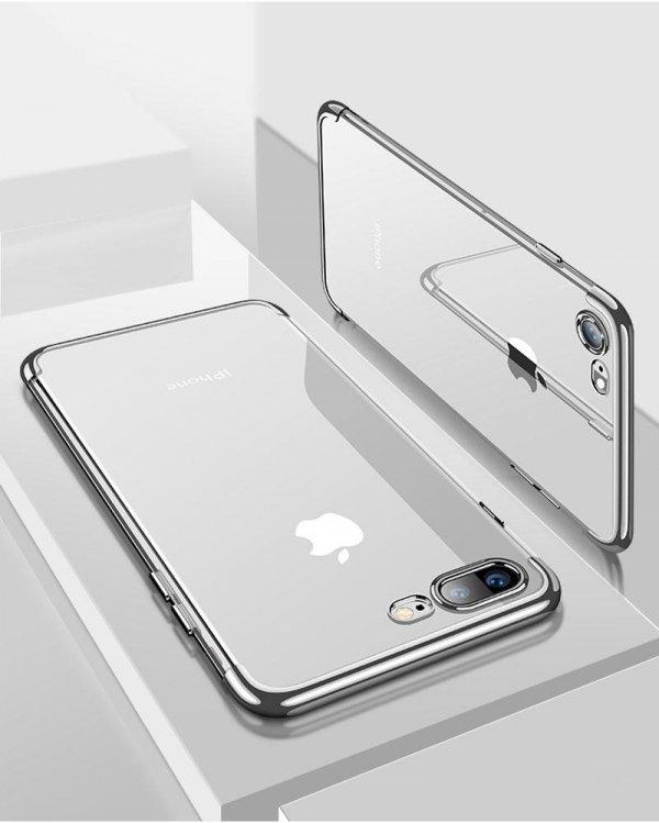 ETUI ELEGANCE PLATE iPHONE 7+ 8+ +SZKŁO (silver)