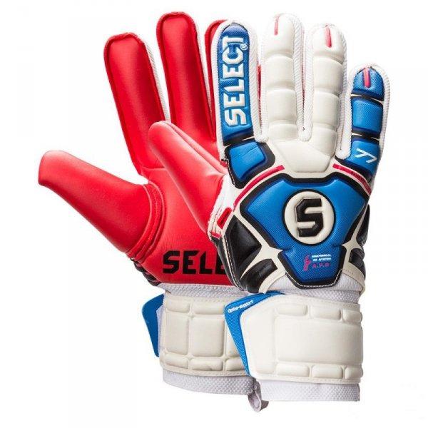 Rękawice bramkarskie Select 77 Slim Fit biało niebiesko czerwone