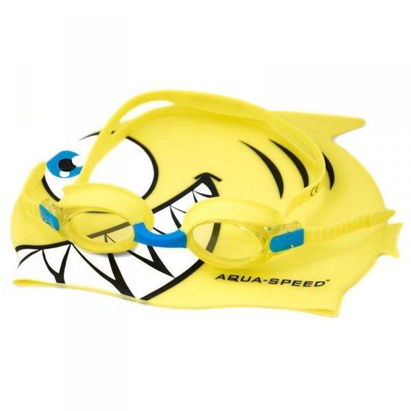 Zestaw basenowy Aqua-Speed okulary czepek Fish żółty 18 088