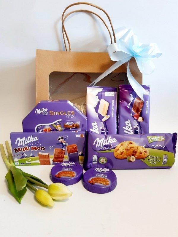 Zestaw prezentowy ze słodyczami Milka