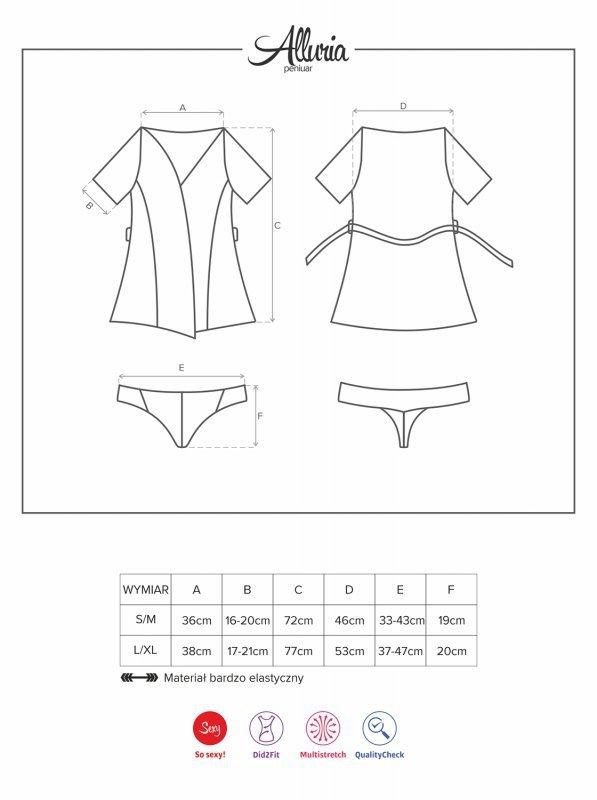 Bielizna-Alluria peniuar i stringi L/XL