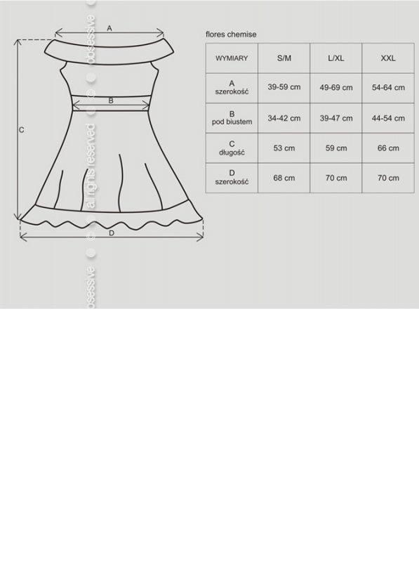 Bielizna-Flores koszulka i stringi czarna  S/M