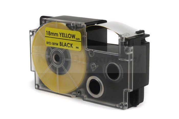 Taśma JetWorld Zamiennik Casio Czarny na Żółtym 18mm x 8m (PT-18YW1, PT18YW1, , XR18YW1)