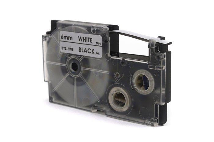 Taśma JetWorld Zamiennik Casio Czarny na Białym 6mm x 8m (PT-6WE1, PT6WE1, XR-6WE1, XR6WE1)