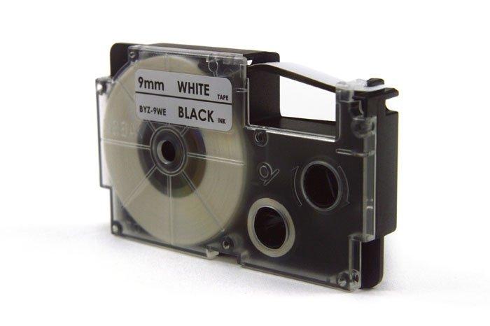 Taśma JetWorld Zamiennik Casio Czarny na Białym 9mm x 8m (PT-9WE1, PT9WE1, XR-9WE1, XR9WE1)