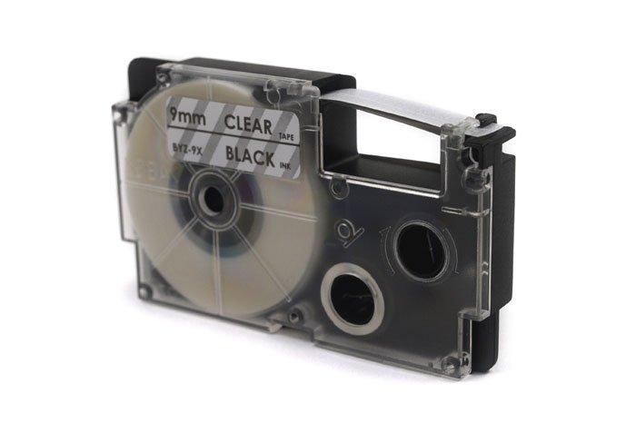 Taśma JetWorld Zamiennik Casio Czarny na Przezroczystym 9mm x 8m (PT-9X1, PT9X1, XR-9X1, XR9X1)