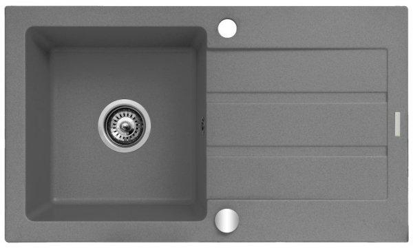 Zlewozmywak granitowy jednokomorowy z ociekaczem Maidsinks 76x44 1B 1D szary beton (Pyragranit; kolor szary)