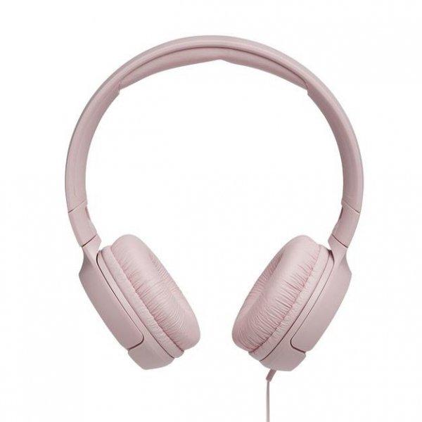 Słuchawki z mikrofonem JBL Tune 500 Różowe (nauszne; z wbudowanym mikrofonem; kolor różowy