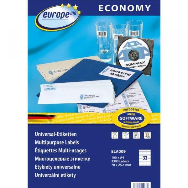 Etykiety ECONOMY A4 70x25.4mm białe ELA009 AVERY ZWECKFORM