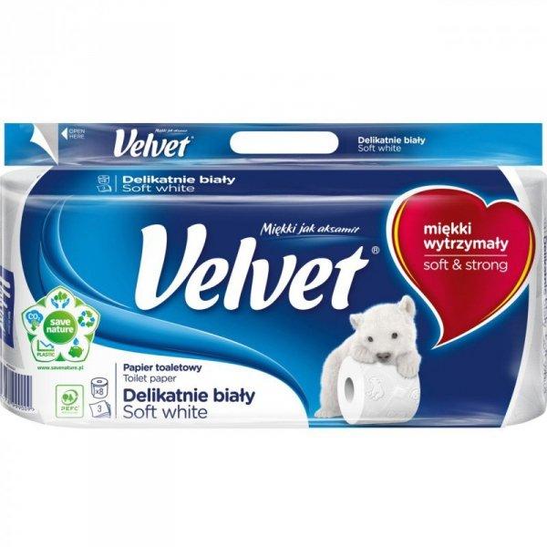 Papier toaletowy delikatnie biały(8szt.) 3 warstwy VELVET